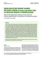 prikaz prve stranice dokumenta Izbor kvalitetne šumske sadnice poljskog jasena (Fraxinus angustifolia Vahl) za umjetnu obnovu i pošumljavanje